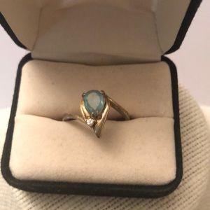 Vintage gold over silver aquamarine zirconia ring